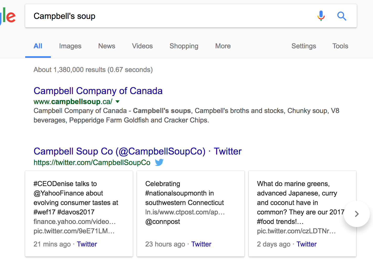 campbell's soup social media result page